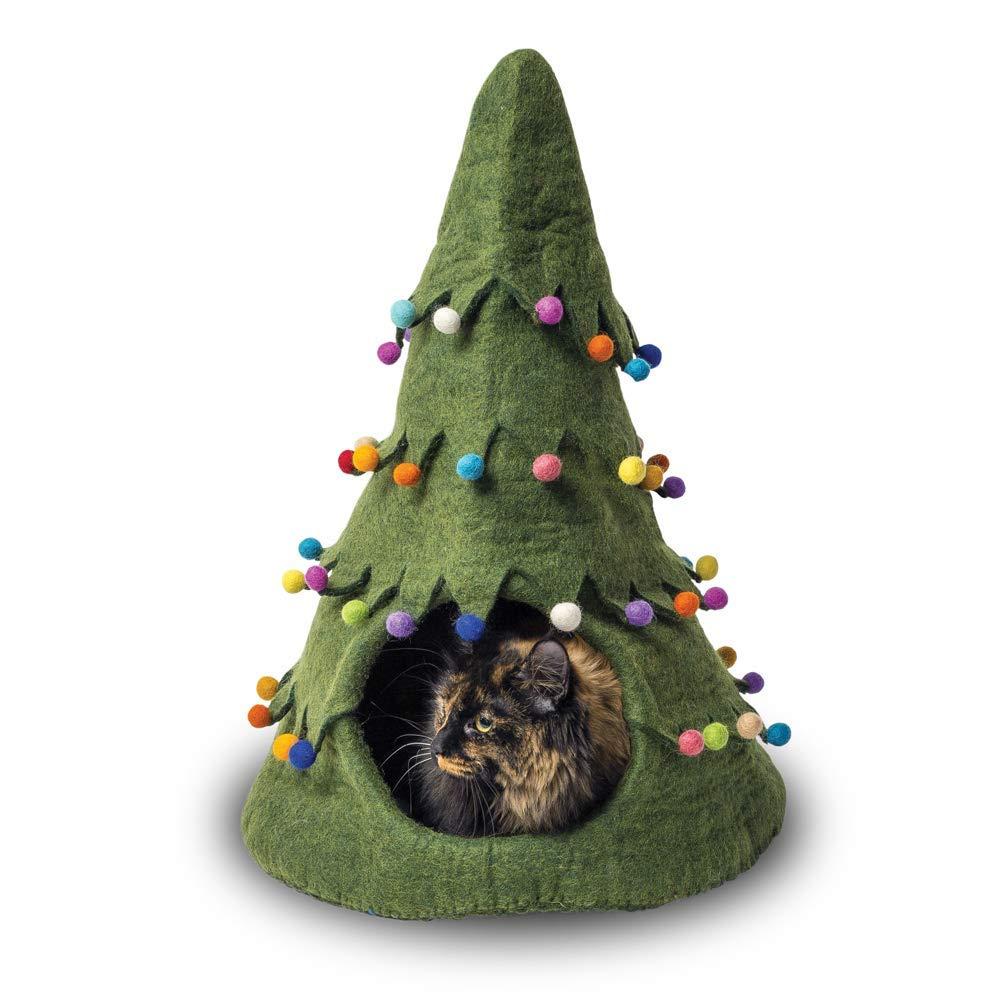 【ダルマ・ドッグ・カルマ・キャット】ウールキャットベッド クリスマスツリーケイブ グリーン 【猫ハウス キャットハウス 保護猫】