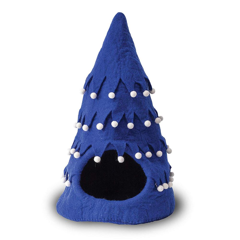 【ダルマ・ドッグ・カルマ・キャット】ウールキャットベッド クリスマスツリーケイブ ブルー【猫ハウス キャットハウス 保護猫】
