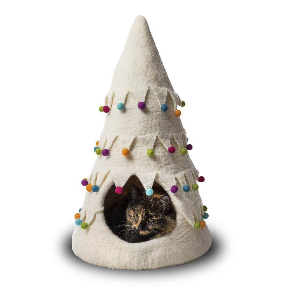 【ダルマ・ドッグ・カルマ・キャット】ウールキャットベッド クリスマスツリーケイブ ホワイト【猫ハウス キャットハウス 保護猫】
