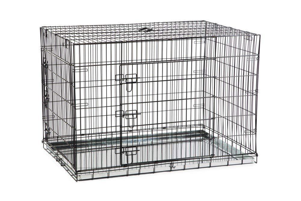 【オランダBEEZTEES】 ペットケージ 3スライドロックドアドッグケンネルケージ ブラック 121 x 78 x 84 cm 【猫ハウス キャットハウス 保護猫】