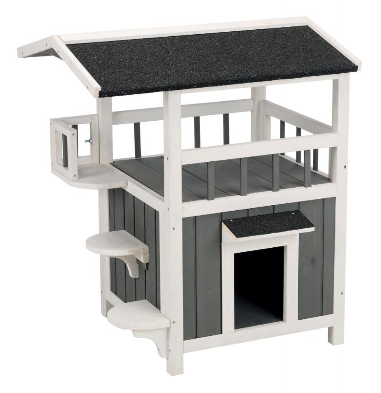 【TRIXIEPET】猫ケージ 木製キャットケージ ナチュラウッドアウトドアシェードバルコニーキャットハウス