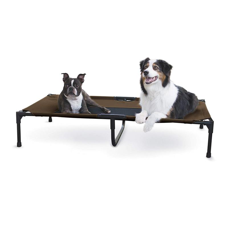 ※大型犬ちゃん多頭飼い向き!【K&Hペットプロダクツ】室内外で使用できる最も快適に過ごせるペットベッド! アウトドアドッグメッシュベッド ペットコット XL チョコ