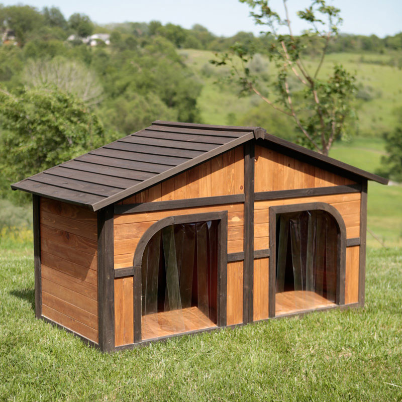 ※2室にできます!【Boomer & George 】犬小屋 アメリカBoomer & George  ドッグハウス ダークステインデュプレックスドッグハウスwith FREE Dog Doors【犬小屋 大型犬 超大型犬 多頭飼い】