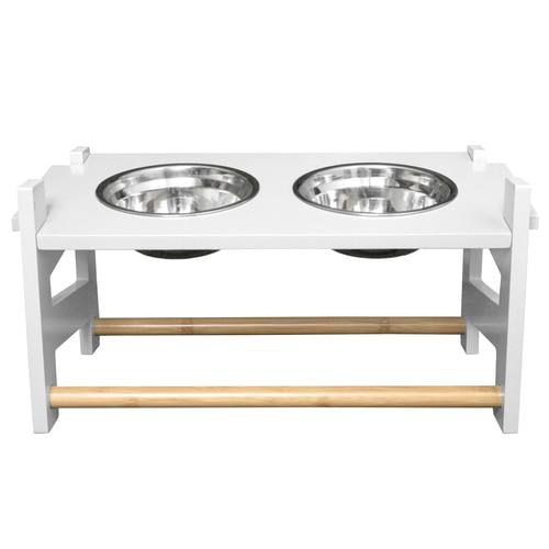 【アメリカFurHaven】 犬用食器 アメリカFurHaven ペットアジャスタブルフィーダーフードボウル S ホワイト