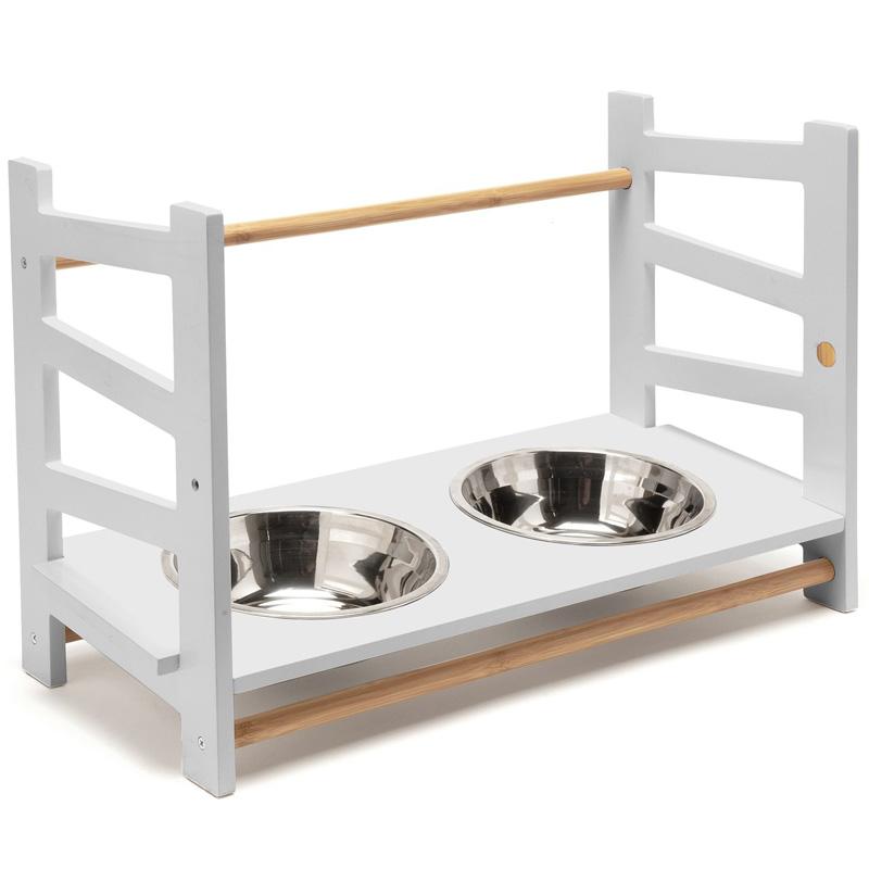 ペットの食事のニーズに合わせて最適な高さにカスタマイズ アメリカFurHaven 犬用食器 定番 ホワイト ペットアジャスタブルフィーダーフードボウル L 公式ショップ