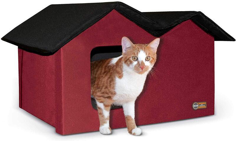 ※再入荷です※【K&Hペットプロダクツ】新発売 室内でも屋外でも使える猫ちゃんハウス アウトドアキティハウスエクストラ ワイド レッド×ブラック※ワイドタイプ※【猫ハウス キャットハウス 保護猫】