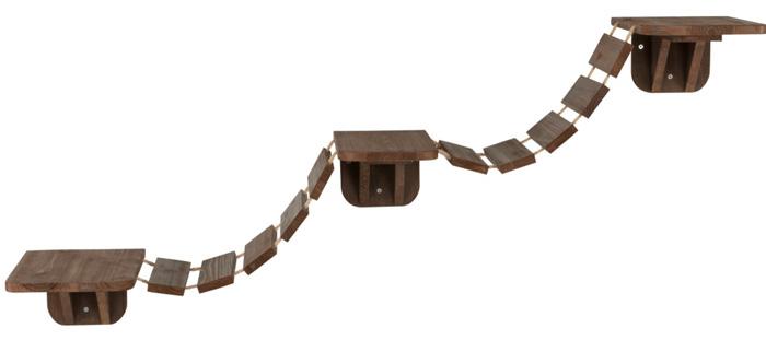 ※お部屋の中でクライミング※【ドイツTRIXIE】キャットタワー ドイツTRIXIE 壁取り付け用キャットタワー ウォールマウントキャットブリッジ ブラウン