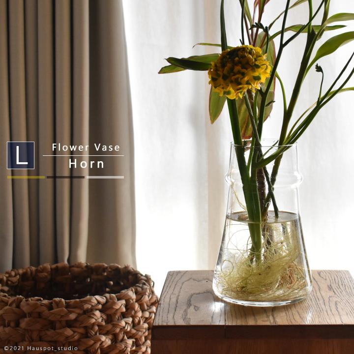 花瓶 ガラス フラワーベース 北欧 おしゃれ デザイン 海外限定 シンプル 和 グレー 使いやすい おすすめ 大きい 枝物Lサイズ:約15cm丸×23cm カラー 洋 大きめ 好評受付中 クリア 円柱 人気 ガラスベース 口径:10cm 6801 HORN イエローフラワーベース 円形