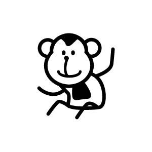楽天市場ゴム印イラストスタンプ 88mm猿c 016サルさる
