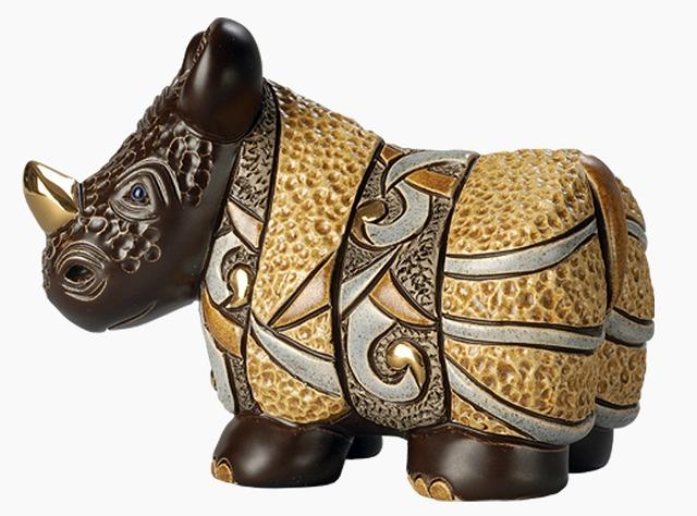 送料無料 アフリカサイ SW005陶器 置物 動物 サイ さい rhino アフリカ アジア インテリア オブジェ おしゃれ かわいい 雑貨 贈り物 プレゼント ウルグアイ製