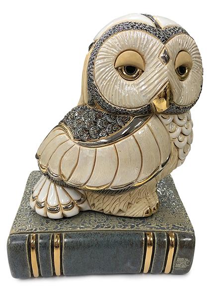 送料無料 本にとまるフクロウ 1024陶器 置物 動物 ふくろう フクロウ 梟 オウル 福 縁起物 幸せ おしゃれ かわいい 贈り物 プレゼント