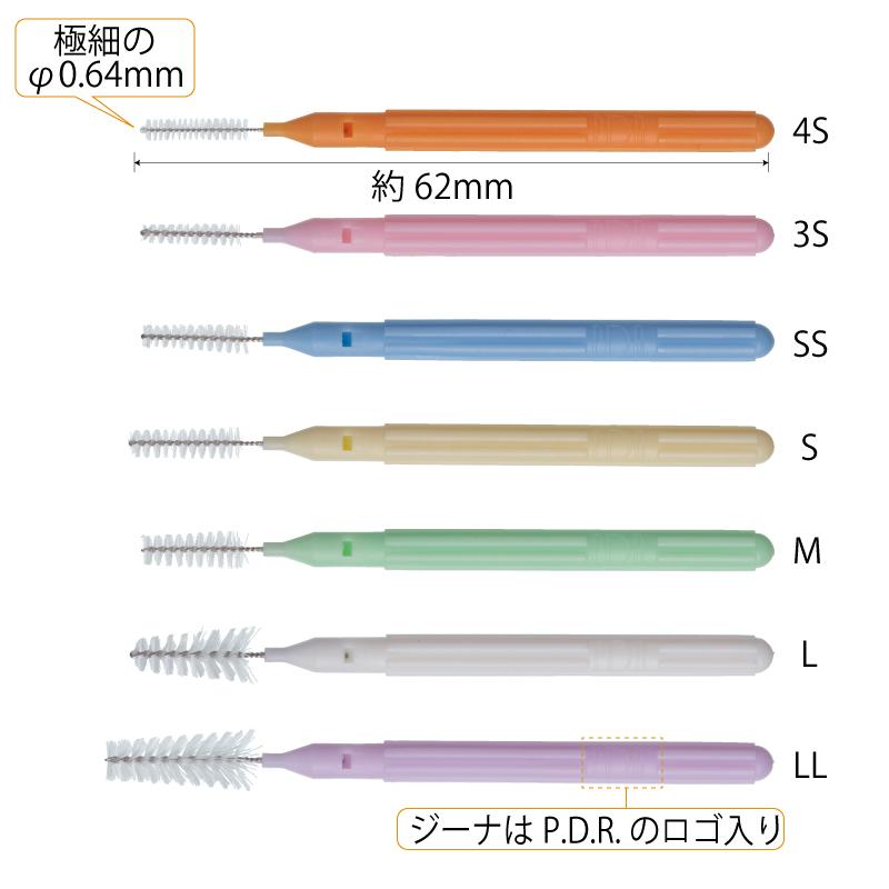 結婚祝い ストレート歯間ブラシ あわい色合いが人気 歯科専用歯間ブラシ PDR ジーナブラシ お試しセット 4S 3S SSSS P.D.R. S SSS L ピーディーアール SS I字 <セール&特集> M