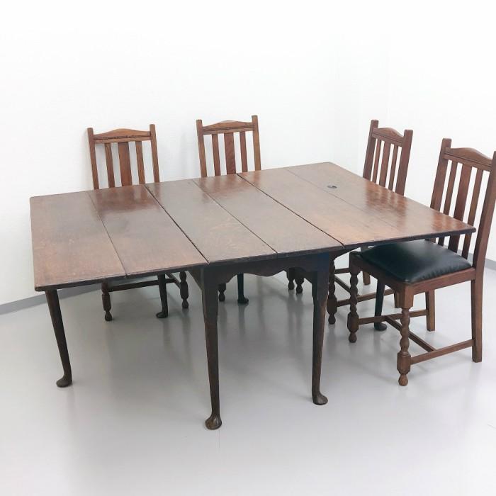 270年前のドロップリーフテーブル 1750年頃/オーク/ゲートレッグ/イギリス家具/英国家具/椅子/無垢/ビンテージ/ヴィンテージ/店舗什器 122A