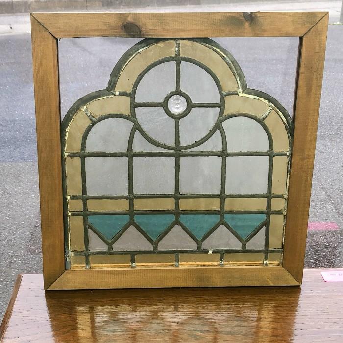 アンティーク 家具 1900`s イギリス より 直輸入アンティーク ステンドグラス/ 英国 ヴィンテージ 窓 ガラス 間仕切枠 建材 建具 店舗什器 ディスプレイ 037A