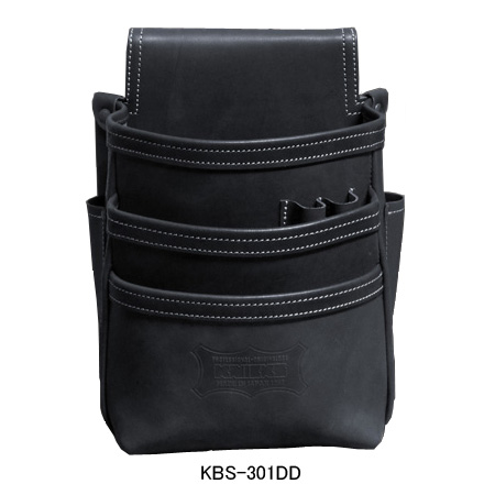 ニックス(KNICKS) KBS-301DD 総ヌメ革使用3段腰袋(ブラック) 腰袋 工具袋 道具袋