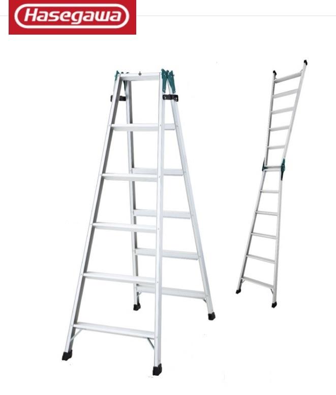 【送料無料】長谷川工業 はしご兼用脚立 RS2.0-18 足が疲れにくい幅広ステップ(60mm) 両面ツバ付きではしご時でも安心