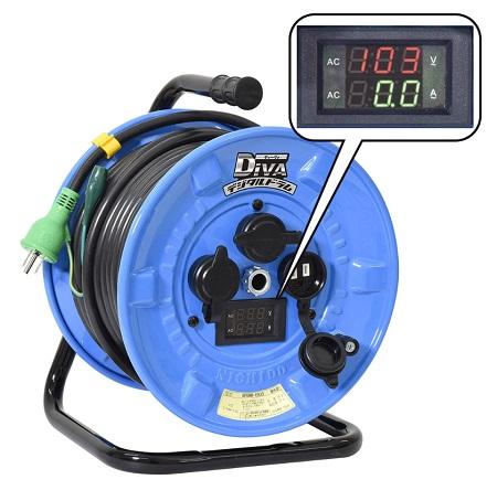 【送料無料】日動工業 防雨型デジタルドラム NPDMW-EK33 屋外用 リール 過負荷・漏電保護兼用 電工リール ブレーカー
