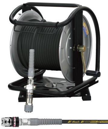 [マッハMach]フジマック 高圧用C型ドラム 回転台付 スーパースムージーホース スウィングカプラ付 GHDAL-630TC