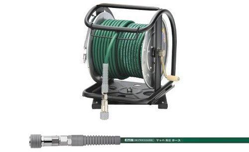 [マッハMach]フジマック 高圧用C型ドラム 高圧ホース グリーンカラー 回転台付  ロック一発カプラ付 HPD-530TC