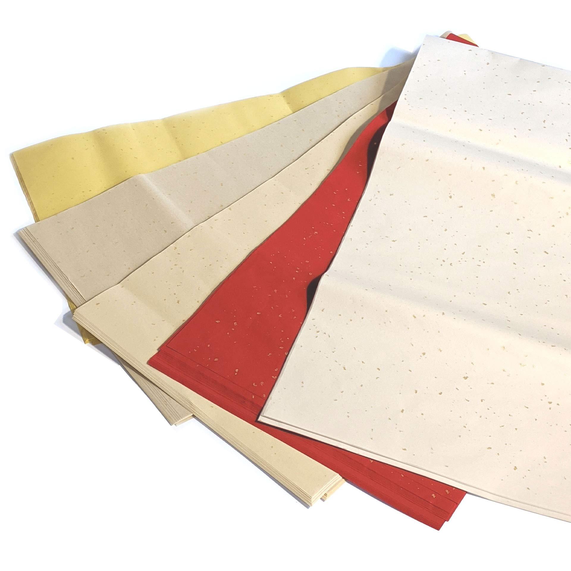 お手頃価格の染画仙紙に金箔が付いています 新作からSALEアイテム等お得な商品満載 5色から選べます 価格 加工紙 書道用紙 半切 色画仙紙 1色10枚 冷金宣