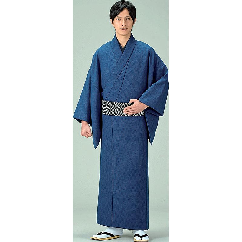 江戸の粋!【小紋】紳士物【男物】お仕立て上がり着物・長着、紺系、格子柄