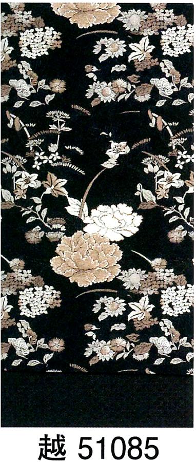 【洗える】京袋帯 草花 芍薬 牡丹 小花など 黒地にベージュ シックな華やかさ