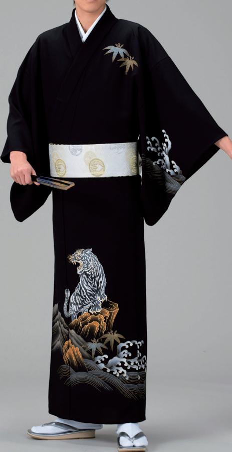 手描き染め【反物】一越 『虎』別途お仕立て致します。紳士もレディースも