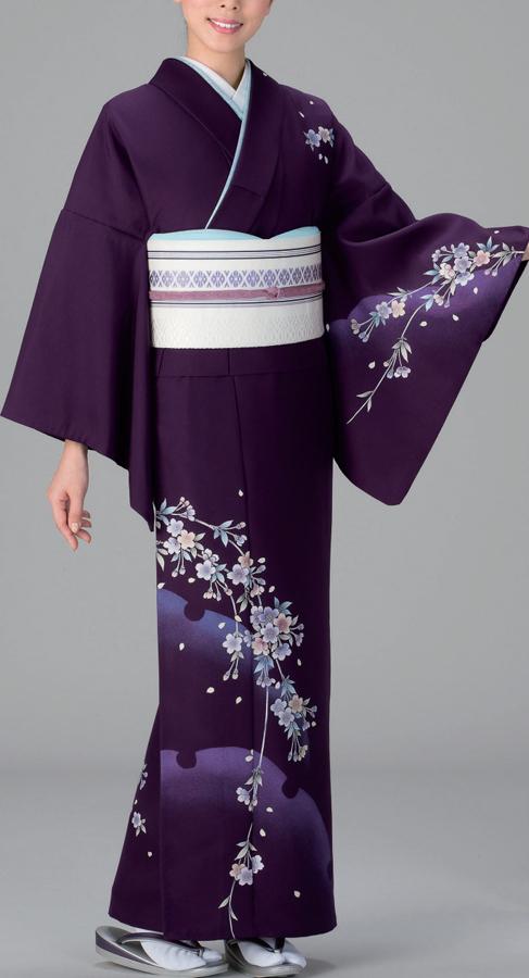 【付け下げ】反物、紫地に大きな割の雪輪と枝垂れ桜の柄