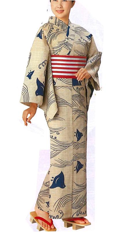 紬浴衣 【お仕立ていたします】ふだん着物にも 波と千鳥の柄、ナチュラルな色がステキ