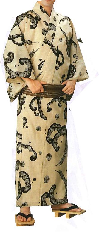 紬浴衣反物 【お仕立ていたします】ふだん着物にも、女性仕立て、男性仕立て 波柄 変わり織り浴衣 古典柄