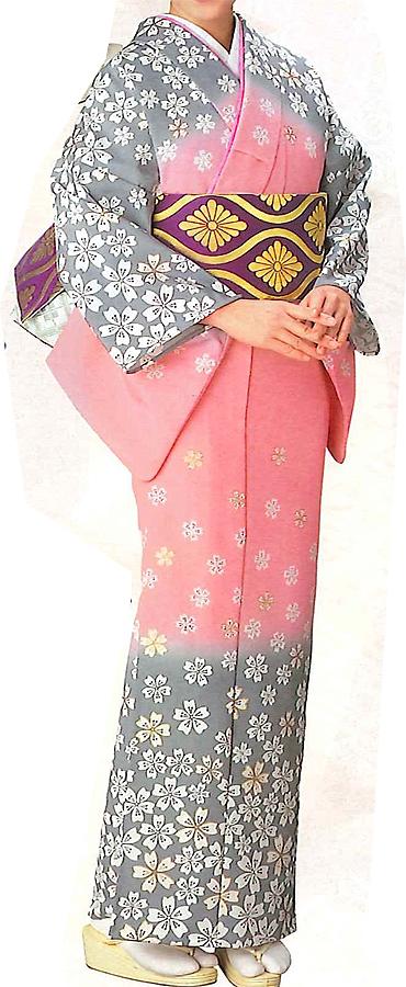 テイジン(C)シルパール【付け下げ】反物、桜咲くグレーとピンクのコンビネーション