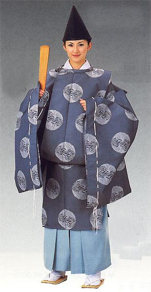 【狩衣以外は別売】狩衣(かりぎぬ) 時代衣裳束 上下番の鶴 青みのグレー