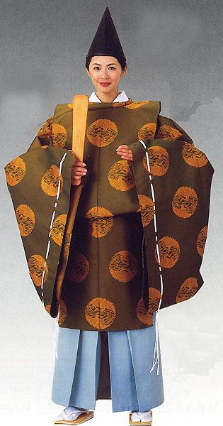 狩衣(かりぎぬ)|平安時代コスチューム|神官衣裳~ シンプル 無地 【日本舞踊】 【時代衣裳束】 【時代装束】 上下番の鶴、金茶、緑系