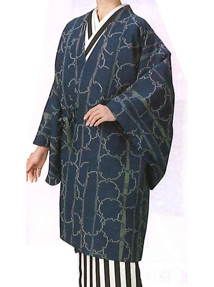 【着物・和装おしゃれコート】Fサイズ|藍色|雪輪柄(袷)(仕立て上り)