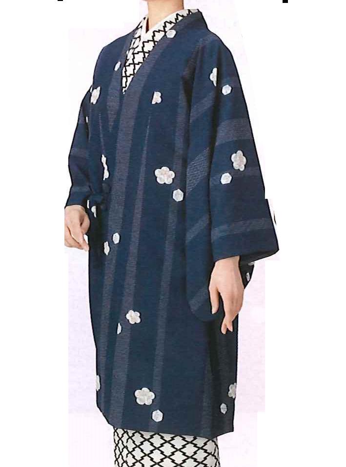 【着物・和装おしゃれコート】Fサイズ|紺色 に 花の飛び柄小紋(袷)(仕立て上り)