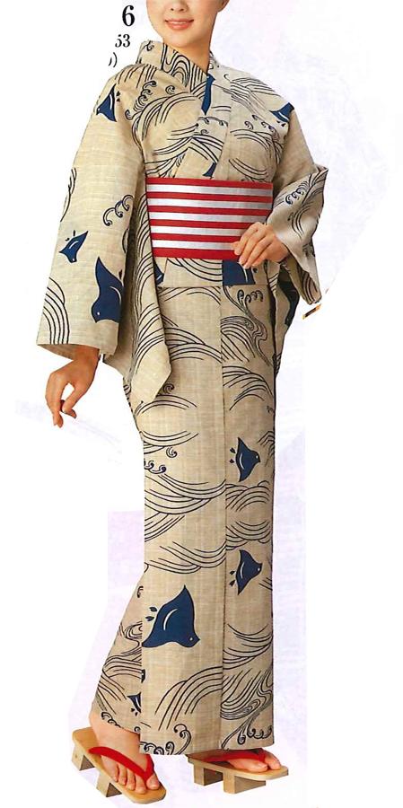浴衣反物 【お仕立ていたします】ふだん着物にも、女性仕立て、男性仕立て 波に千鳥 変わり織り浴衣 古典柄