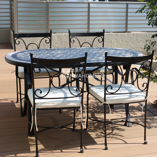 round mosaic outdoor dining table kettler 4 seater mercury piece set private cushion garden furniture top