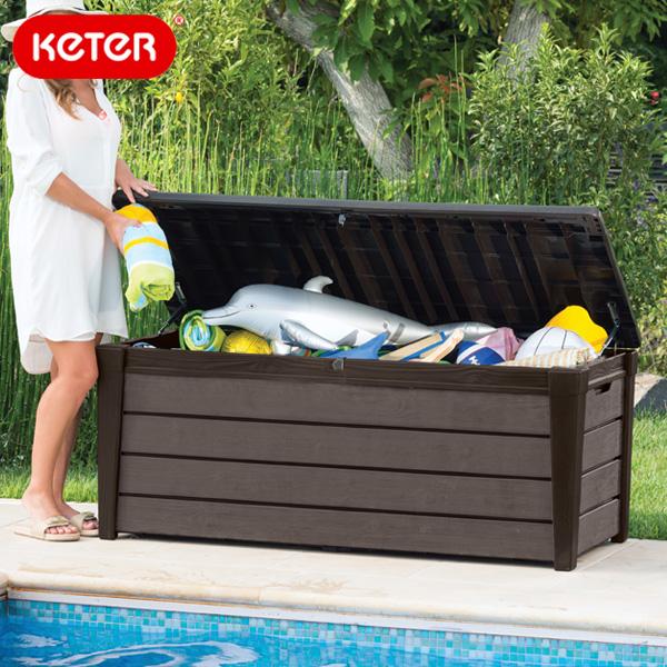 先行予約 7月下旬頃入荷予定 ケター ブラッシュウッドデッキボックス454L(Keter Brushwood Deck Box)【大型宅配便】/ケター ケーター 座れる ベンチ 物置 ストレージ 収納庫 ストッカー 収納ベンチ おしゃれ 木調