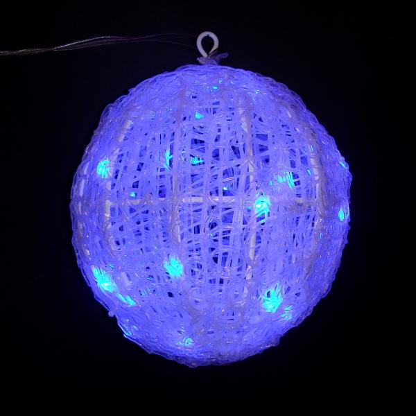 LEDイルミネーション/3Dモチーフライト 青色LEDクリスタルボールライト 20cm/イルミネーション クリスマス ボールライト LED ブルー/コロナ産業/RCP