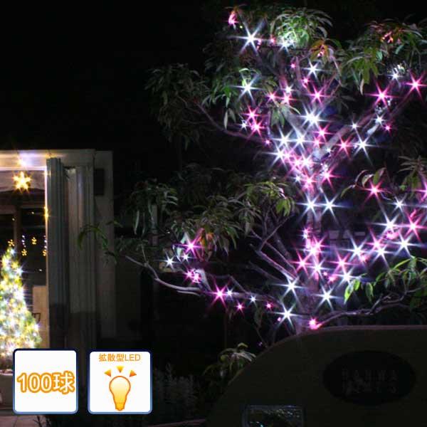 LEDイルミネーションライト/ストレートライト ホワイトピンク100球/コントローラー付き/LED ホワイト/LED ピンク/コロナ産業/RCP