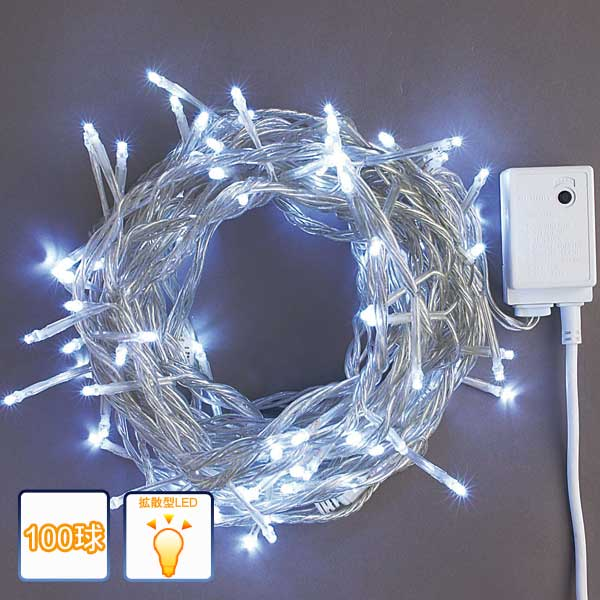 LEDイルミネーション/ストレートライト ホワイト100球/コントローラー付/LEDホワイト/コロナ産業/RCP