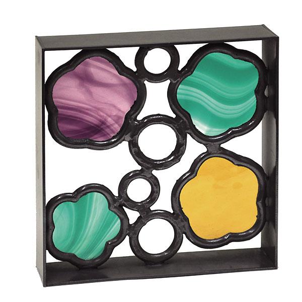 シャインガラスブロック 花 /日本製/青銅/錫合金/ガラス/D-1