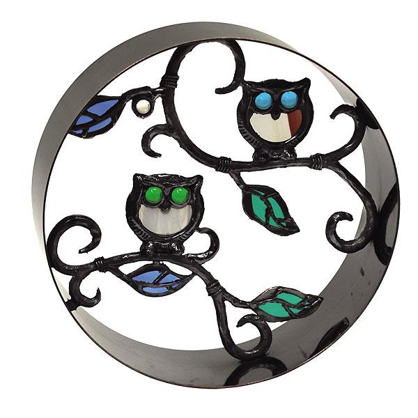 完璧 フクロウ シャインガラスブロック銅製丸型ブロックラウンド300 /日本製/青銅/錫合金/ガラス/D-1:DEPOS 2号館-木材・建築資材・設備