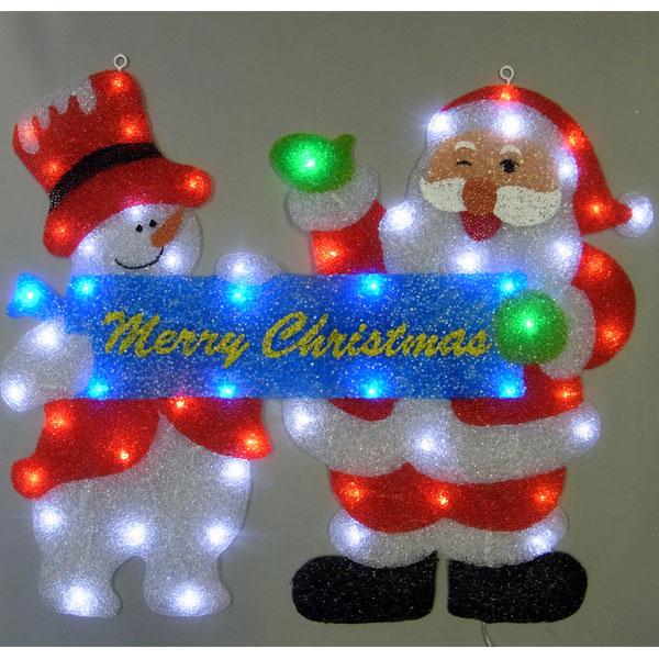 室内LEDイルミネーションライト/室内用2Dモチーフ/ウィンドウモチーフ サンタ&スノーマン/イルミネーション/クリスマス/LED/コロナ産業/RCP/05P03Dec16/【HLS_DU】