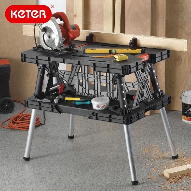 keter Folding Work Table  ケター フォールディングワークテーブル ワーキングテーブル 折り畳み テーブル 作業台 DIY 日曜大工 持ち運び 樹脂製 庭 簡易  あす楽
