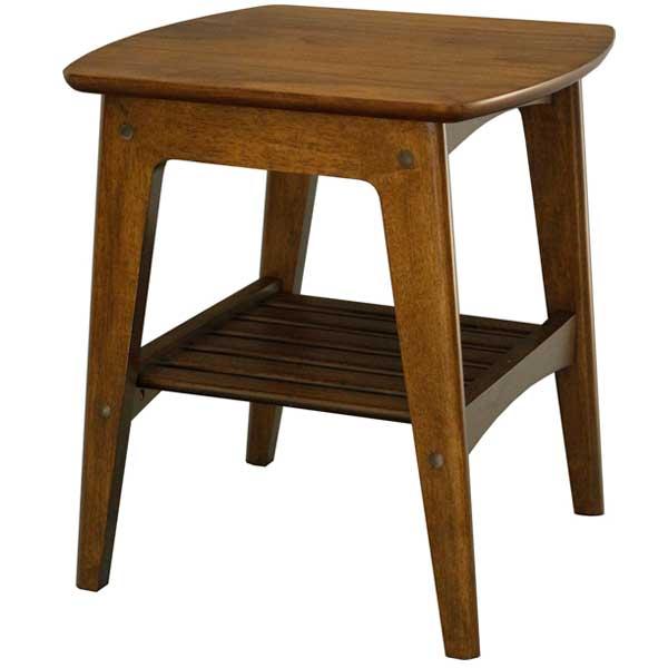 Rosie(ロージー) サイドテーブル / 棚付き レトロ ダークブラウン ウォールナット シリーズ 木製 サイドテーブル 木製テーブル ワンルーム 一人暮らし 新生活 /ヤマソロ/RCP