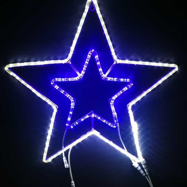 LEDイルミネーション/2Dスターモチーフ/LED スター70 白&青色/イルミネーション/クリスマス/チューブライト/コロナ産業/RCP/
