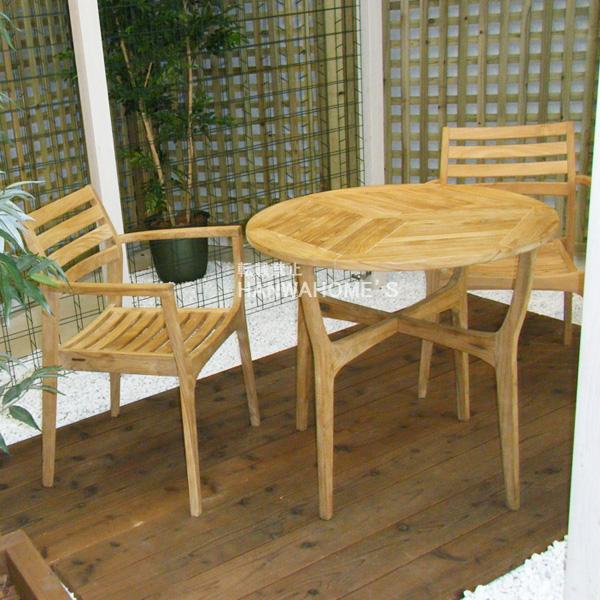 ロータステーブル(φ80) 3点セット / ガーデンファニチャーセット / ガーデンテーブルセット / ガーデンテーブル / ガーデンチェアー / ベランダ / テラス / チーク製/smtb-k/w-3