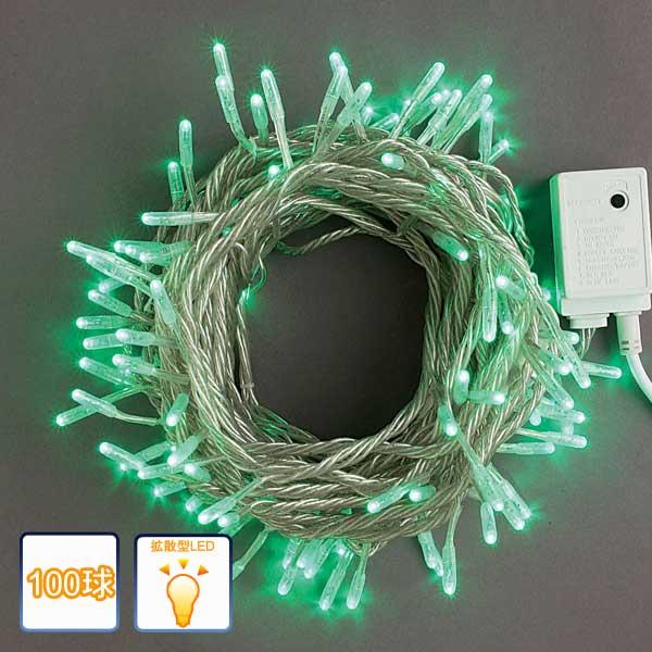 LEDイルミネーション/ストレートライト グリーン100球 /コントローラー付/シルバーコード/LEDグリーン/RCP