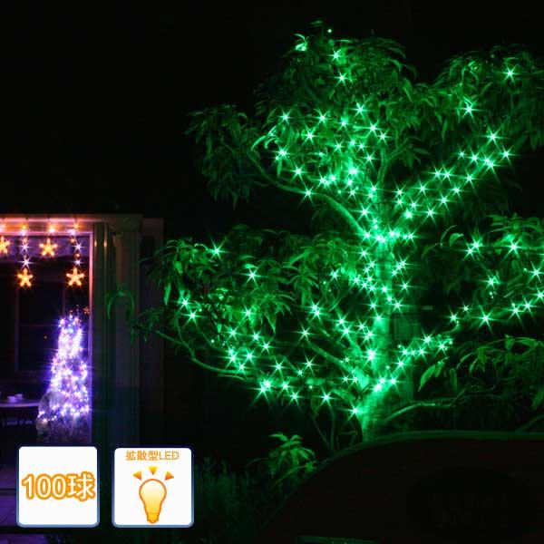 LEDイルミネーションライト/ストレートライト グリーン100球 /コントローラー付/LEDグリーン/コロナ産業
